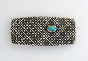 Tufa Cast Belt Buckle with Red Mountain Turquoise by Harrison Jim