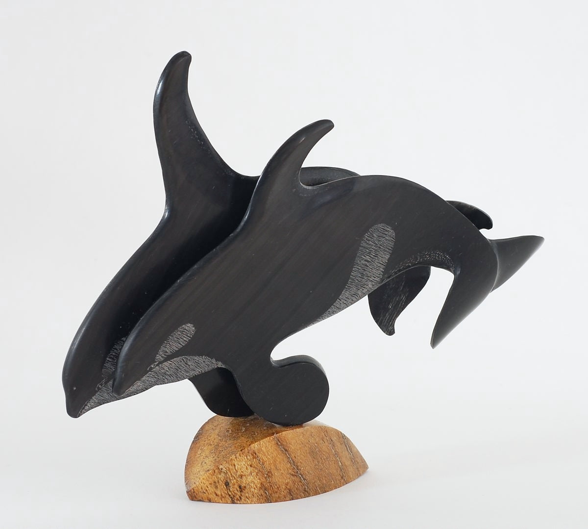 Double Baleen Orca Carving by Keith Kanginok