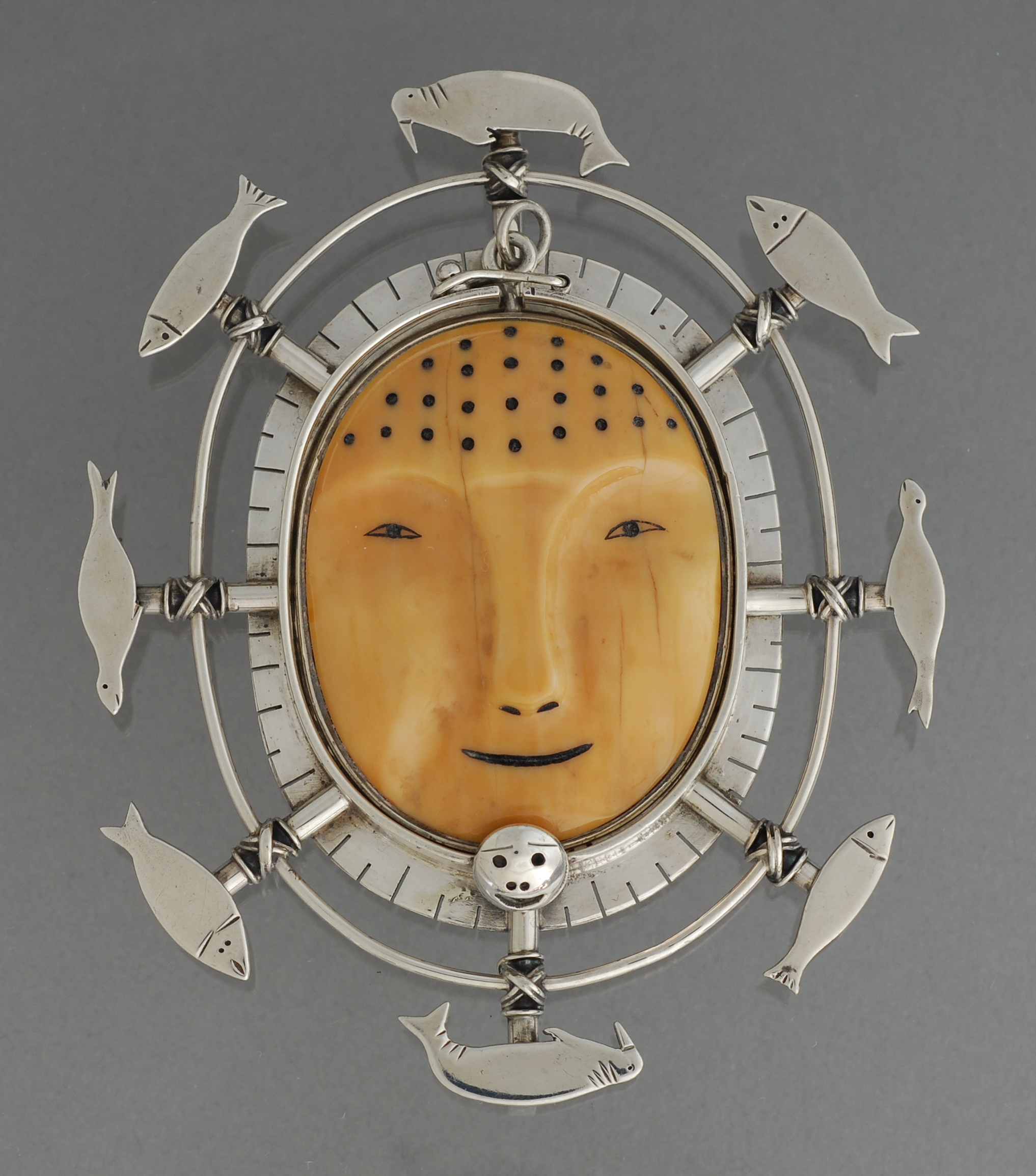 Fisherman Mask Pin/Pendant by Denise Wallace