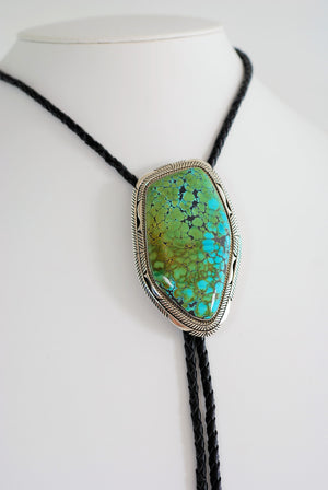 Large Turquoise Bolo Tie by Eugene Belone