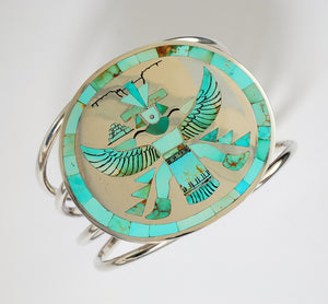 "Zuni ""Knifewing"" Inlay Bracelet by Harlan and Monica Coonsis"
