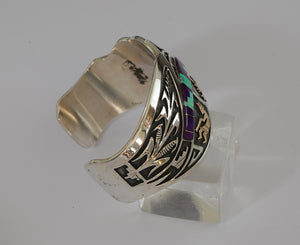Sterling and Gold Bracelet with Sugilite and Opal by Mark Yazzie