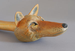 Wolf Talking Stick (Original Wood Sculpture) by Hib Sabin