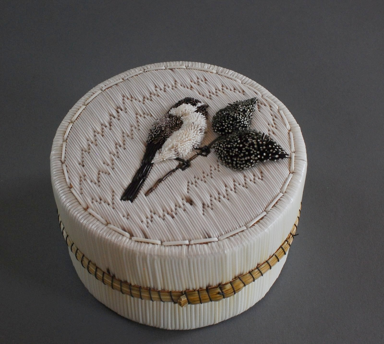 "4"" Tufted Chickadee Quill Box Jeannie Aguonie"