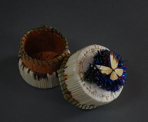 "2"" Tufted Blue w/Butterfly Quill Box; Francine Desmoulin"