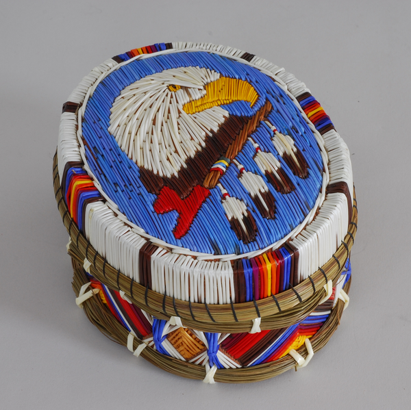 "5 1/2"" Oval Eagle Quill Box by Steven Pangowish"