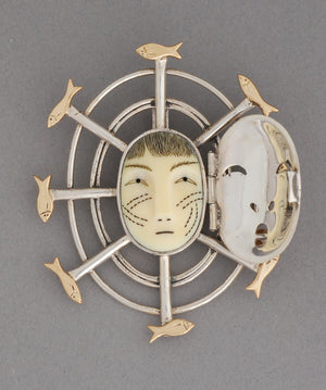 Fisherwoman's Mask Pin/Pendant by Denise Wallace