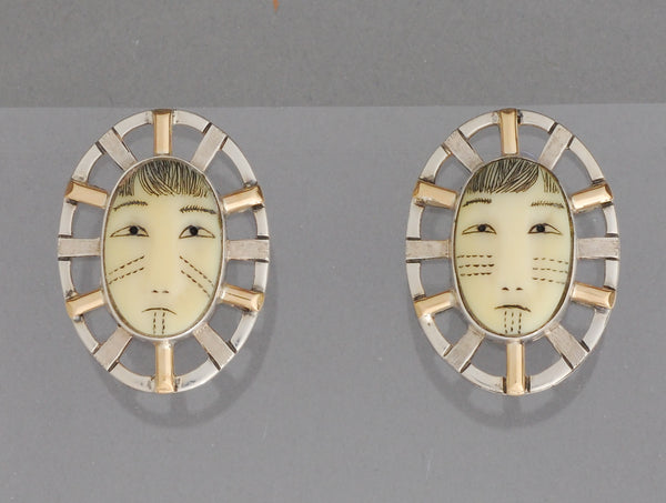 Woman In The Moon Earrings by Denise Wallace