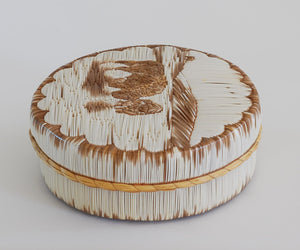 "Quill Box by Yvonne Walker Keshick ""Bison Wading in Water"""