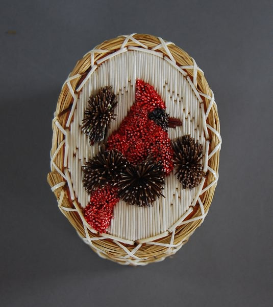 Oval Tufted Cardinal Quill Box by Marjorie Spanish