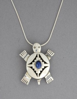 Turtle with Lapis Pin/Pendant by Benny Raton