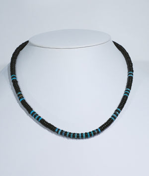 Jet and Turquoise Necklace with rounded beads