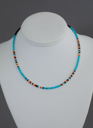 Necklace, Turq w/multi-color Heishi by Doreen Calabaza