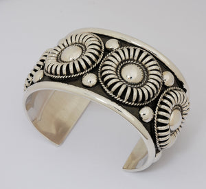 Wide Cuff Bracelet with Rosettes by Thomas Charlie