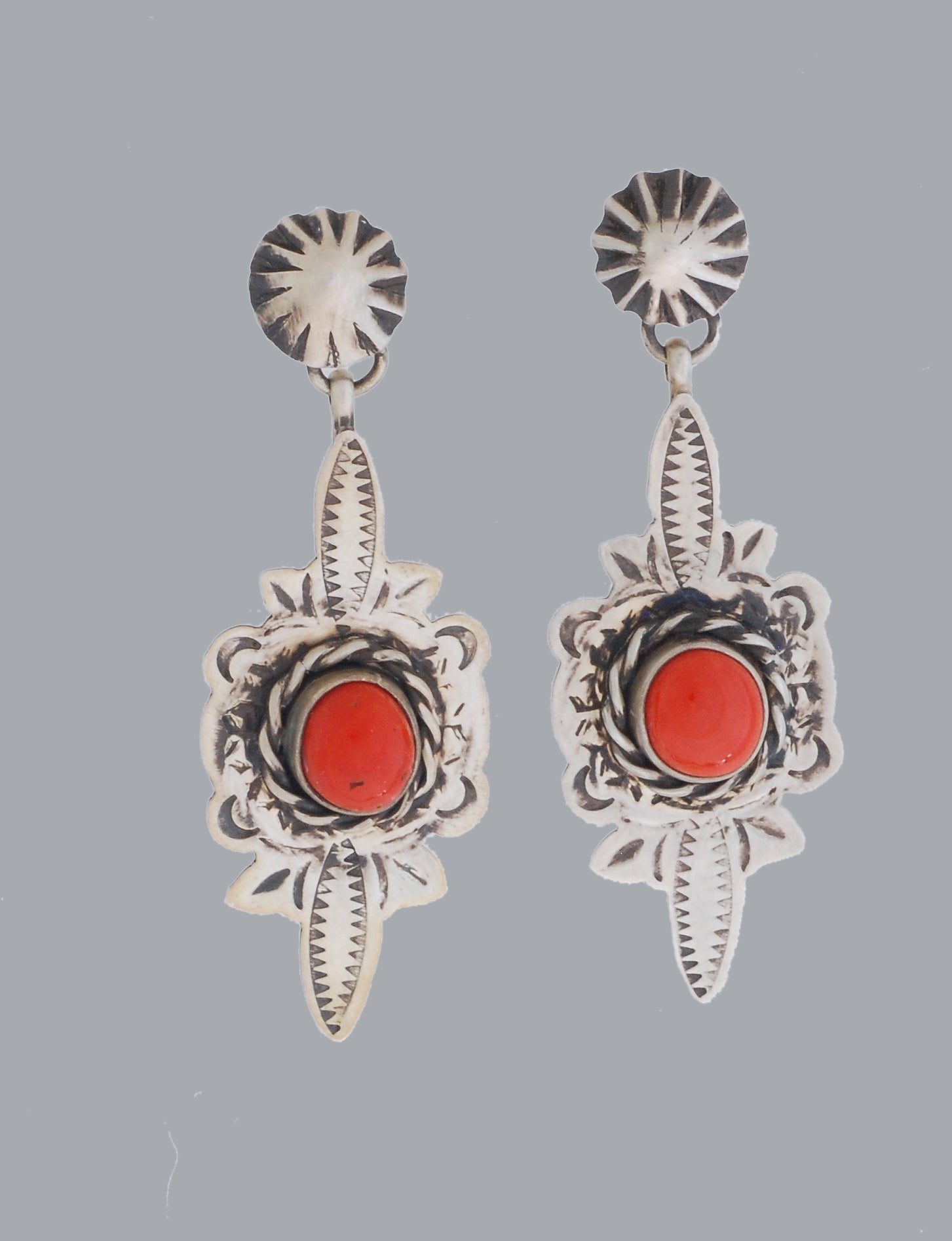 Red Coral Earrings by Randy White