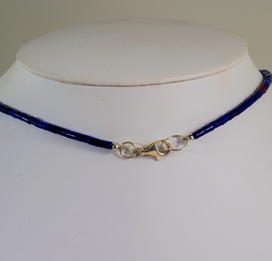 Lapis Heishe Necklace with Reversible Pendant by Charlene Reano