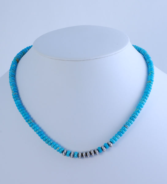 Turquoise Bead Necklace (adjustable)