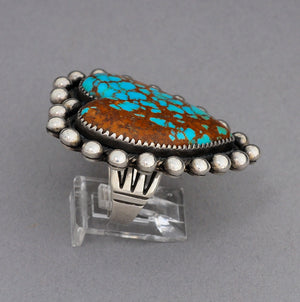 Vintage Ring with Turquoise Heart by Mike Bird Romero. Indian Mountain Turquoise!