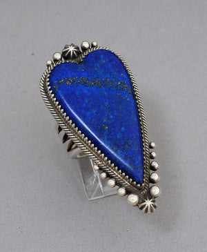 Vintage Ring with Blue Persian Lapis Lazuli Heart by Mike Bird Romero