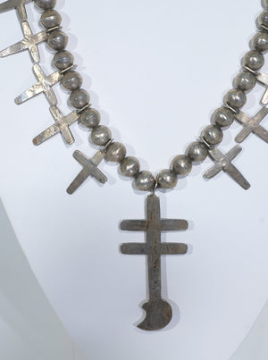 Antique Pueblo Cross Necklace with Isleta Cross Pendant