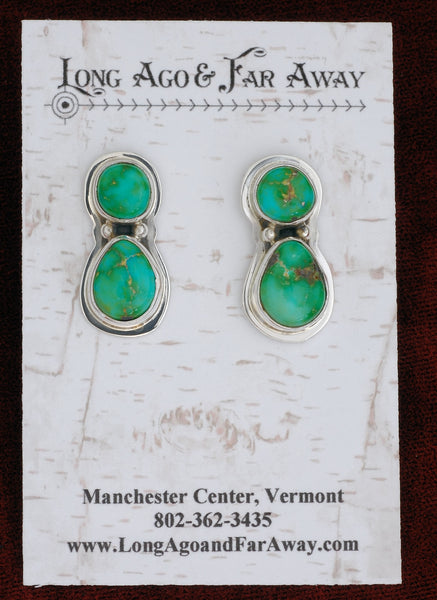 Earrings with Sonoran Green Turquoise