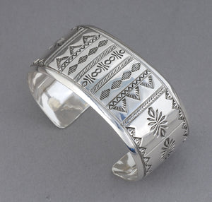 Stamped Cuff Wide Bracelet by Wesley Whiteman