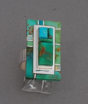 Turquoise Ring with Mosaic Inlay by Larry Castillo