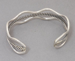 Cuff Bracelet with Wavy Wire Sides