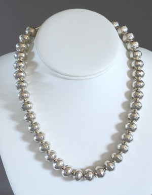"""Navajo Pearls"" 18"" Necklace with Stamped Beads by Jeffrey Nelson (Navajo)"