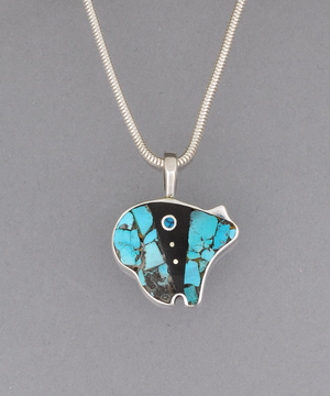 Medium/Small Inlay Bear Pendant by Jimmy Poyer