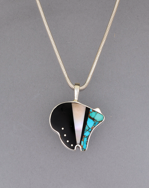 Medium Inlay Bear Pendant by Jimmy Poyer