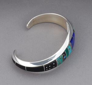 Large Cuff Bracelet with Inlays by Jimmy Poyer