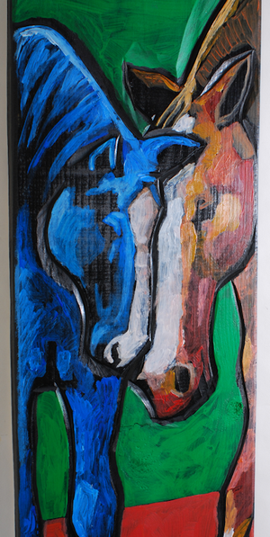 """Two Horses"" Acrylic on Board by Leland Holiday"