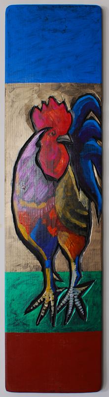 """Rooster"" Acrylic on Board by Leland Holiday"
