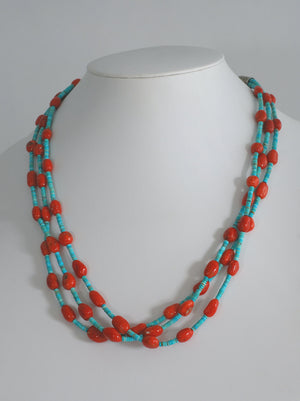 3 Strand #8 Turquoise and Coral Nugget Necklace