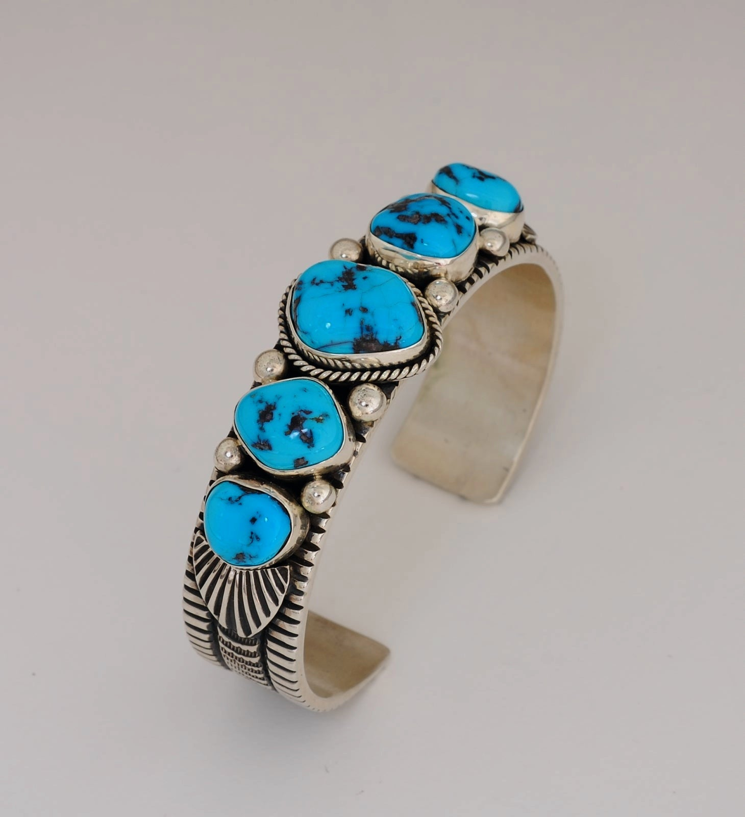 Kingman Turquoise Nugget Bracelet by Guy Hoskie