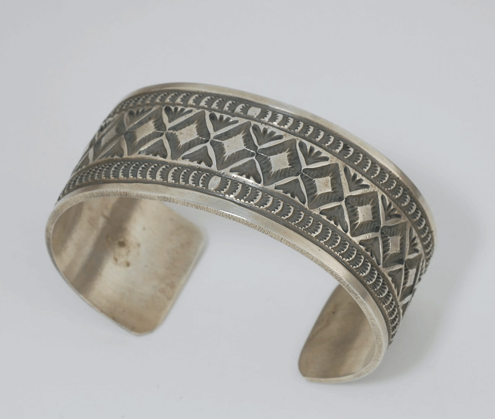 Heavy Stamped Wide Cuff Bracelet by Leonard Maloney (Navajo)