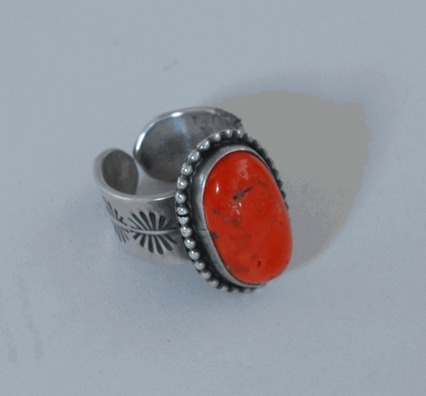 Coral and Sterling Silver Ring by Vivian Barbone