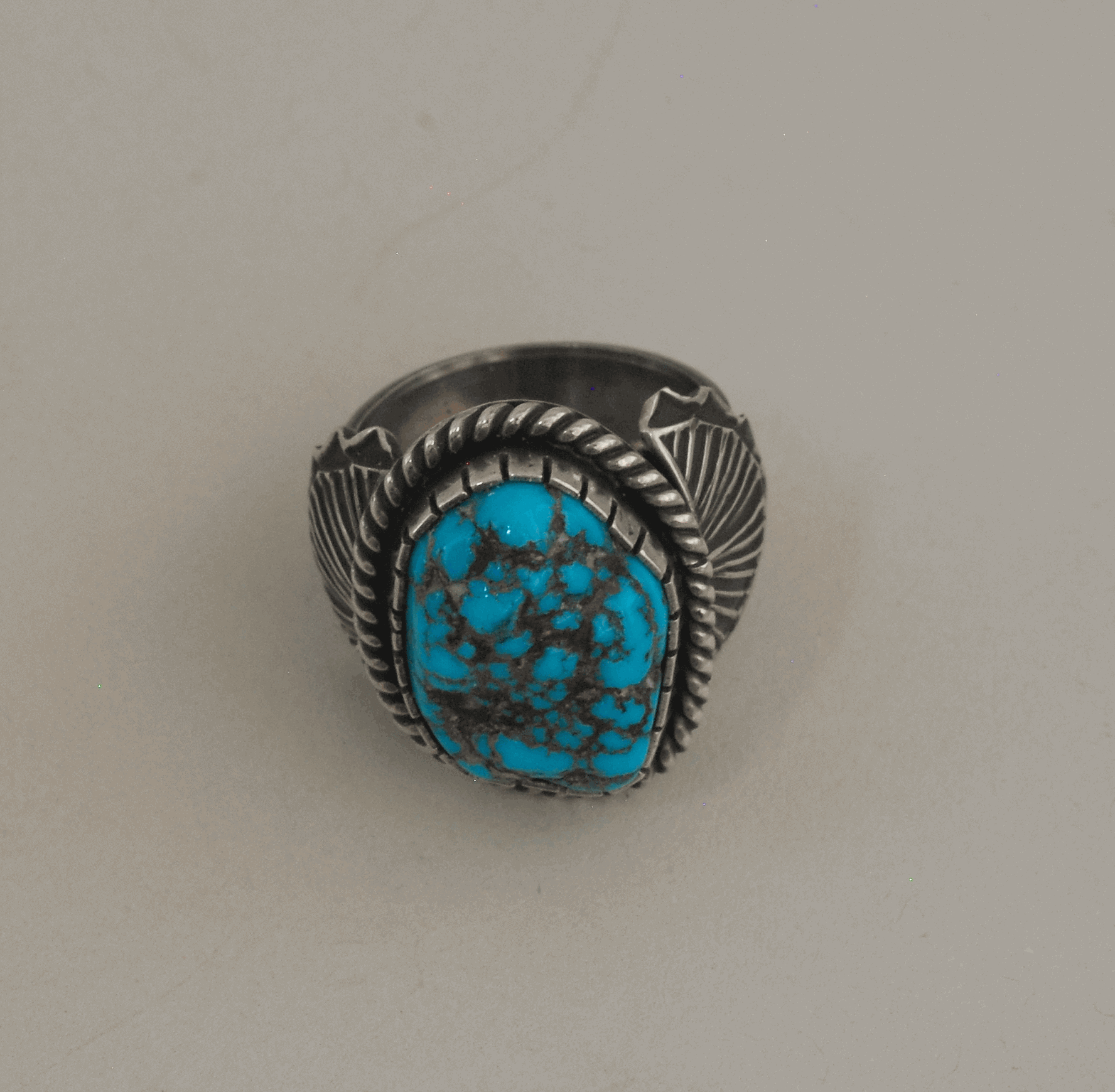 Ring by Geneva Ramone; Kingman Turquoise Nugget