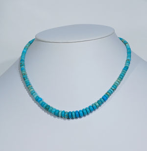 Natural Number Eight Turquoise Necklace with Rolled Beads