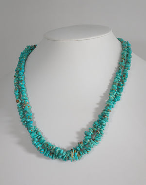 2 Strand Natural Number Eight Turquoise Nugget Necklace