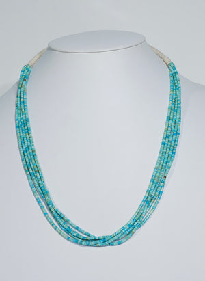 5 Strand #8 Turquoise Necklace by Calvin and Pilar Lovato