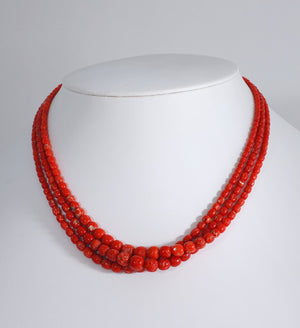 Three-Strand Red Coral Necklace
