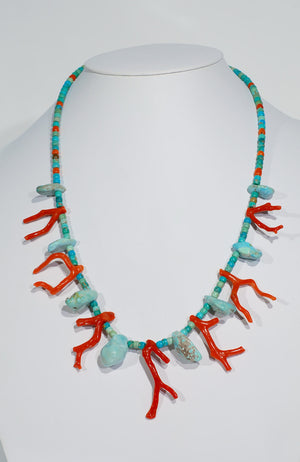 Natural Castle Dome Turquoise and Coral Necklace