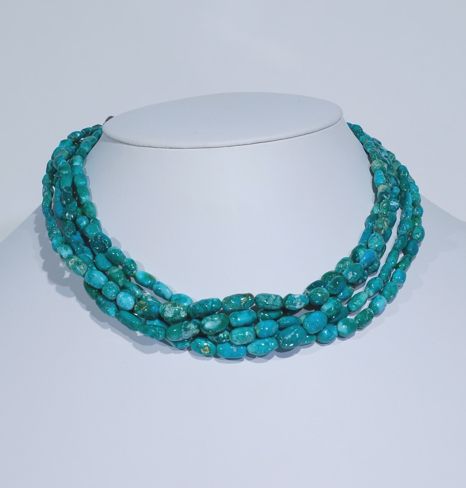 5 Strand Natural Fox Mine Turquoise Nugget Necklace