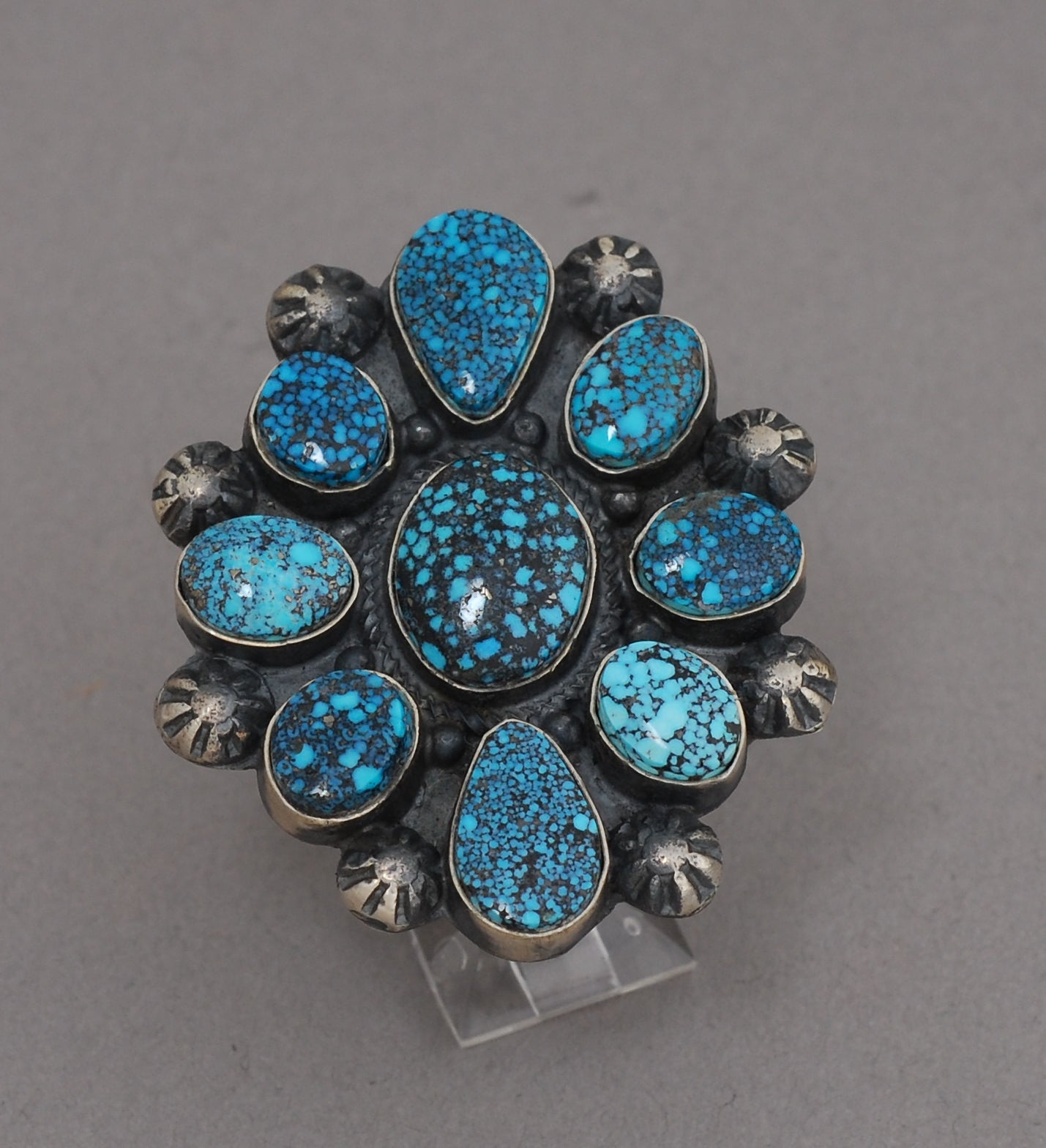 Turquoise Cluster Ring with Black Web Kingman Turquoise by Verdy Jake