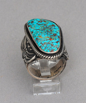 Classic Ring with Turquoise Mtn Turquoise by Geraldine Yazzie
