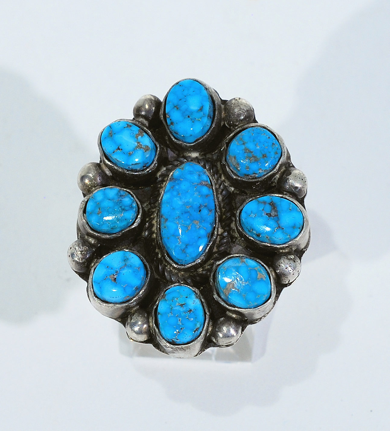Kingman Spiderweb Turquoise Cluster Ring by Joe Tom