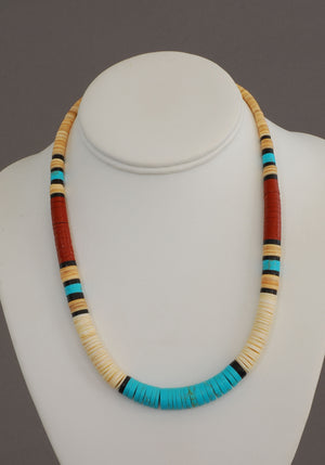 Large Multicolor Heishe Choker by Torevia Crespin