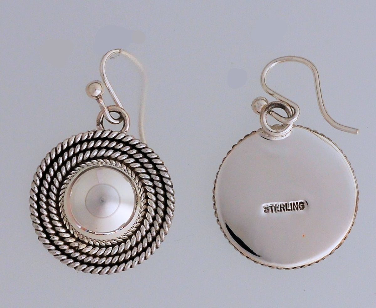 Earrings, Small Dome on Wires by Artie Yellowhorse (Navajo)